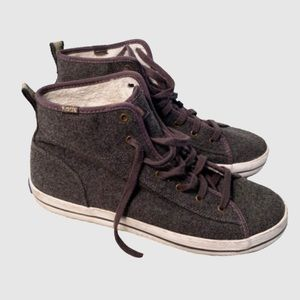 Keds Gray High Top Fur Sneakers. Size 8